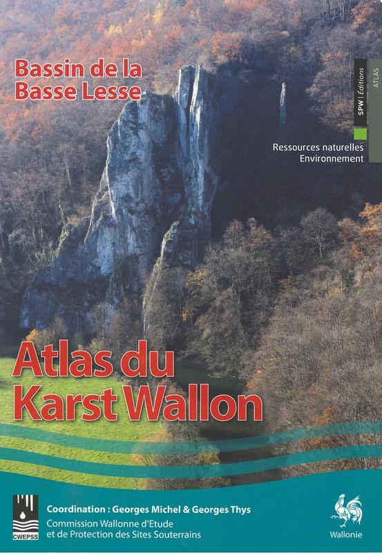 Atlas du Karst Wallon N°04. Bassin de la Basse Lesse. Inventaire cartographique et descriptif des sites karstiques et des circulations d'eau souterraine (papier)