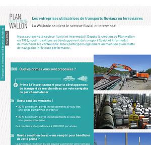 Plan wallon 2021-2025. Les entreprises utilisatrices de transports fluviaux ou ferroviaires. La Wallonie soutient le secteur fluvial et intermodal ! (numérique)