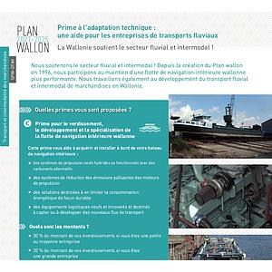 Plan wallon 2021-2025. Primes à l'adaptation technique : une aide pour les entreprises de transports fluviaux. La Wallonie soutient le secteur fluvial et intermodal ! (numérique)