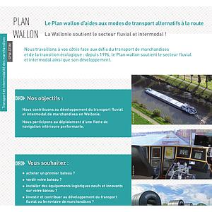 Plan wallon. Le Plan wallon d'aides aux modes de transport alternatifs à la route La Wallonie soutient le secteur fluvial et intermodal ! (numérique)